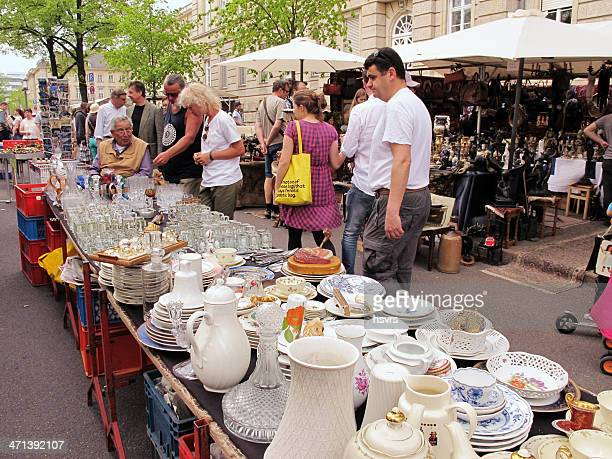people visiting big Flea Market in the Tiergarten Berlin (Germany)