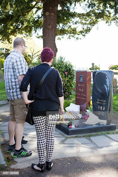 People Visiting Bruce and Brandon Lee's Grave