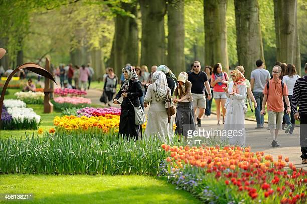 People visiting flower park Keukenhof in the Netherlands