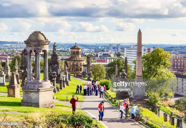 People visiting Glasgow's historic Necropolis