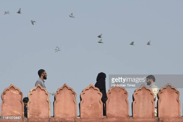 People visiting Jama Masjid on the day of the Supreme Court verdict in the Ram Janmabhoomi Babri Masjid case on November 8 2019 in New Delhi India...