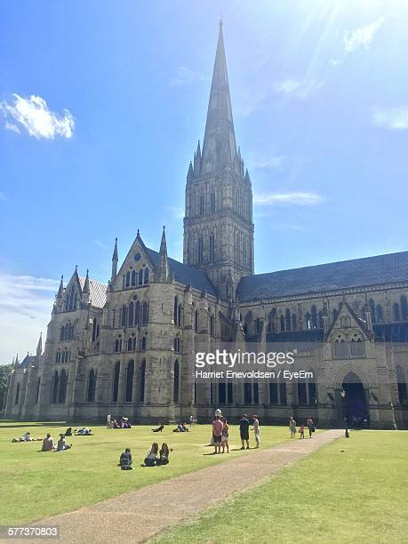 people visiting salisbury cathedral against sky - harriet stock photos and pictures
