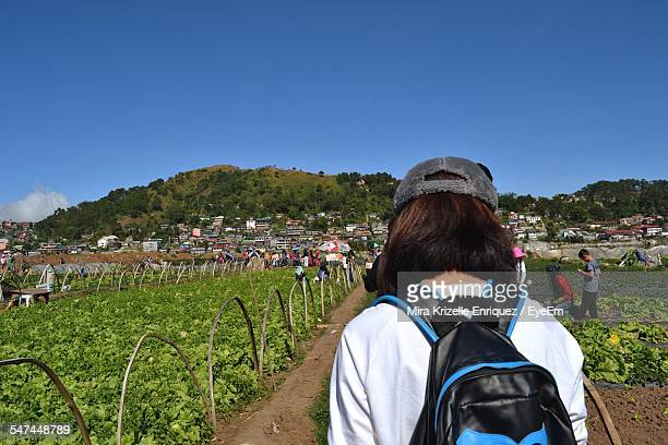 People Visiting Strawberry Farm Against Clear Blue Sky