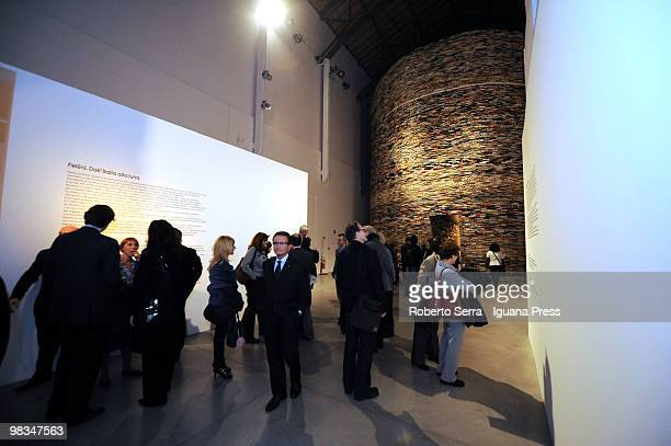 "People visiting the work ""Scanner"" by slovak artist Matej Kren at MAMBO Museum of Modern Art of Bologna on April 9, 2010 in Bologna, Italy."