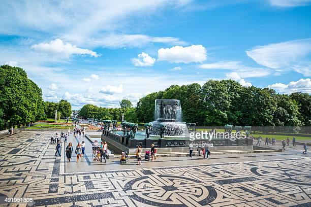 People visiting Vigeland Sculpture Park, Oslo