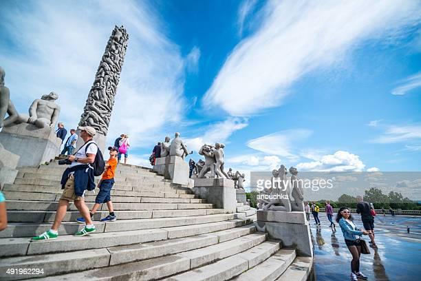 People visiting Vigeland Sculpture Park, Oslo