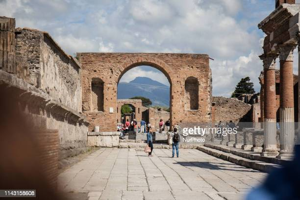 People visits the archaeological Site of Pompeii in Pompei Italy on May 1 2019 Pompeii was an ancient Roman city near modern Naples in the Campania...