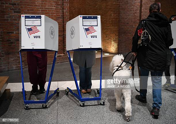 People vote at the Brooklyn Museum polling station in the Brooklyn borough of New York City on November 8 2016 With an anxious world watching...