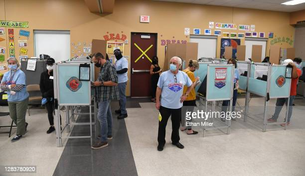 People vote at the Veterans Memorial Leisure Center on November 3, 2020 in Las Vegas, Nevada. After a record-breaking early voting turnout, Americans...