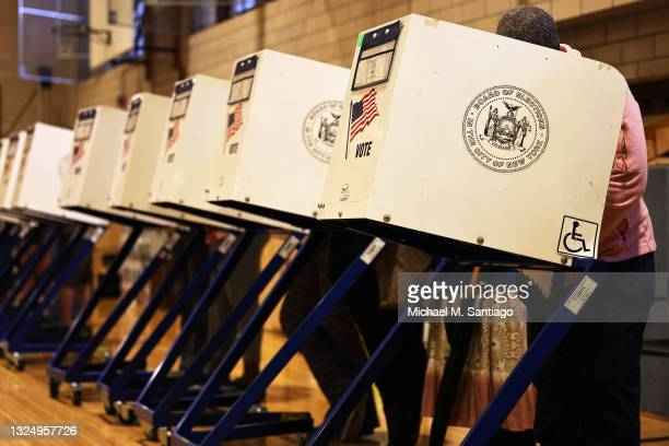 People vote during the Primary Election Day at P.S. 249 The Caton School on June 22, 2021 in the Flatbush neighborhood of Brooklyn borough in New...