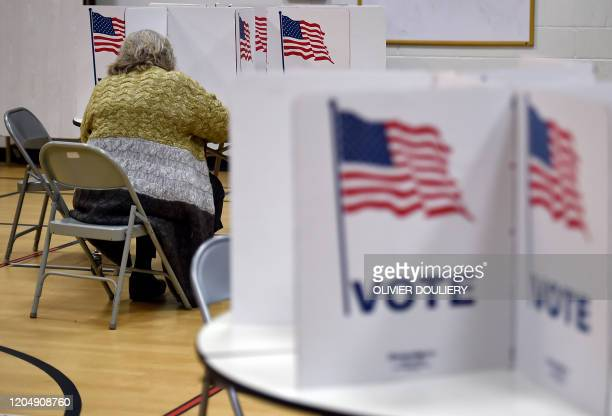 People vote in the Super Tuesday primary at Belvedere Elementary School on March 3 2020 in Falls Church Virginia Fourteen states and American Samoa...