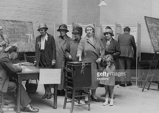 People voting at a polling station at Twickenham during the general election