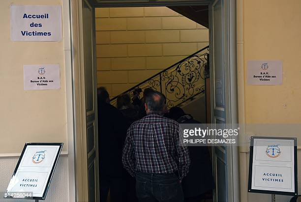 People wait at the reception for victims before the start of the trial of Dutch Jacobus Marinus Van Nierop dubbed as The dentist of the horror on...