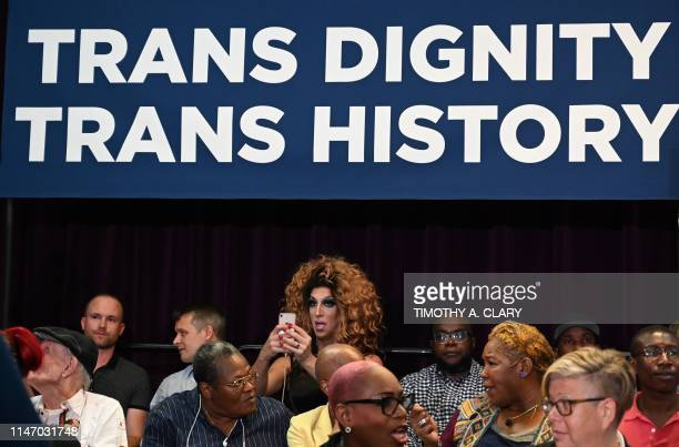 People wait for the mayor to arrive during an event at the The Lesbian Gay Bisexual Transgender Community Center in New York on May 30 2019 Mayor...