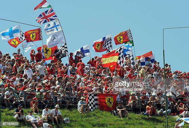 People wait for the start of the Formula One Hungarian Grand Prix at the Hungaroring racetrack on August 3 2008 in Budapest AFP PHOTO / BERTRAND GUAY