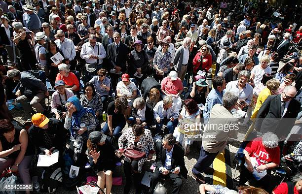 People wait for the state memorial service for former Australian Prime Minister Gough Whitlam at Sydney Town Hall on November 5 2014 in Sydney...