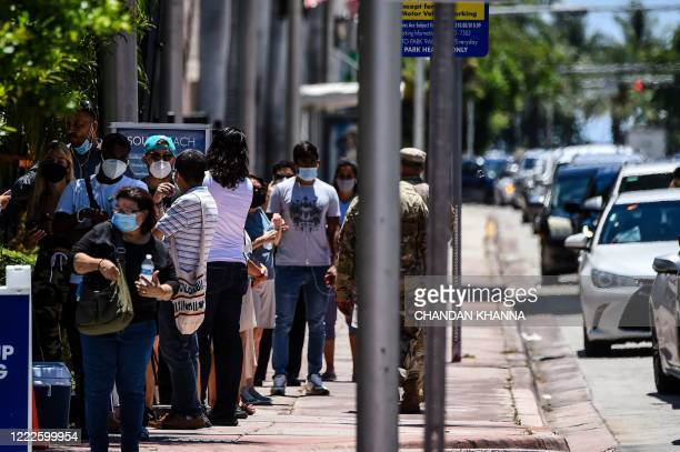 """People wait for their testing at a """"walk-in"""" and """"drive-through"""" coronavirus testing site in Miami Beach, Florida on June 24, 2020. - With..."""