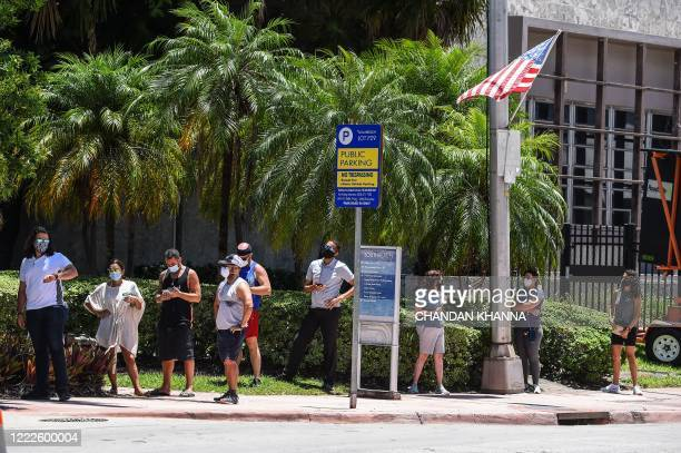 "People wait for their testing at a ""walk-in"" and ""drive-through"" coronavirus testing site in Miami Beach, Florida on June 24, 2020. - With..."