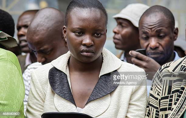 People wait in front of morgue of Chiromo Campus of Nairobi University on April 04, 2015 to identify the corps of their relatives killed during the...