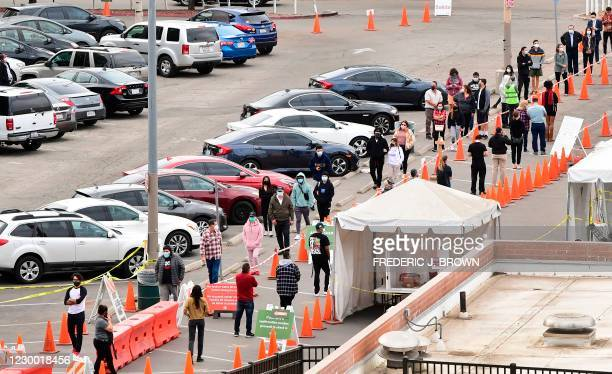 People wait in line at a Covid-19 testing center despite the Stay-At-Home regulation underway in Los Angeles, California on December 8, 2020. - More...