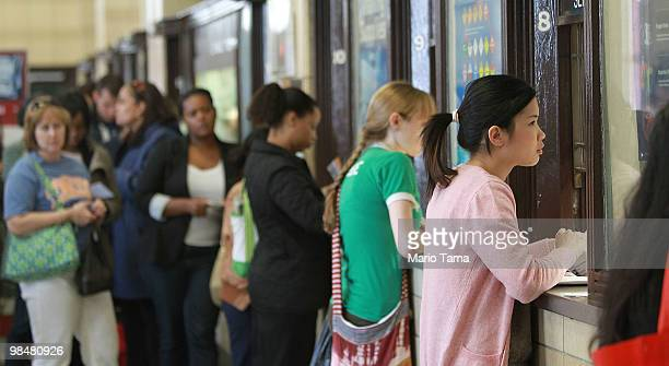 People wait in line at a downtown Manhattan post office on the final day of tax season April 15 2010 in New York City Americans across the country...