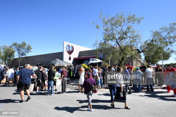 People wait in line at United Blood Services to donate blood for the victims of the Route 91 Harvest country music festival October 2 2017 in Las...