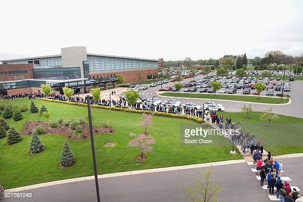People wait in line to enter a campaign event with Democratic presidential candidate Sen Bernie Sanders on the campus of Indiana University Purdue...