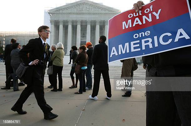 People wait in line to enter the US Supreme Court on October 10 2012 in Washington DC Today the high court is scheduled to hear arguments on Fisher V...