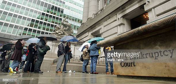 People wait in line to enter US Bankruptcy Court October 14 2005 in New York City People across the nation filed bankruptcy petitions today before a...