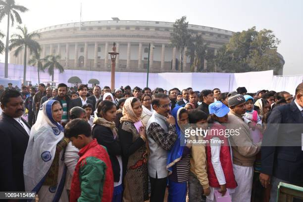 People wait in queues to pays tribute to BR Ambedkar on his death anniversary at Parliament House Lawns on December 6 2018 in New Delhi India Bhimrao...