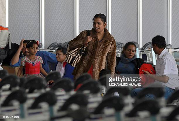 People wait in the departure lounge at Sanaa International Airport on April 6 2015 as hundreds of foreigners are evacuated from conflicthit Yemen On...