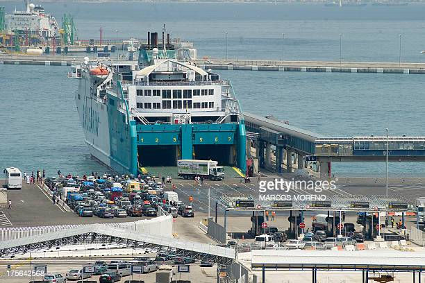 People wait to board ferries bound for Ceuta and tangers in the port of Algacieras on August 5 2013 The port of Algeciras over the weekend saw over...
