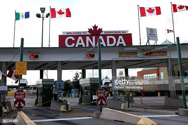 People wait to clear the Customs and Immigration plaza before or after crossing the Peace Bridge on September 20 2005 in Buffalo New York Nearly 32...