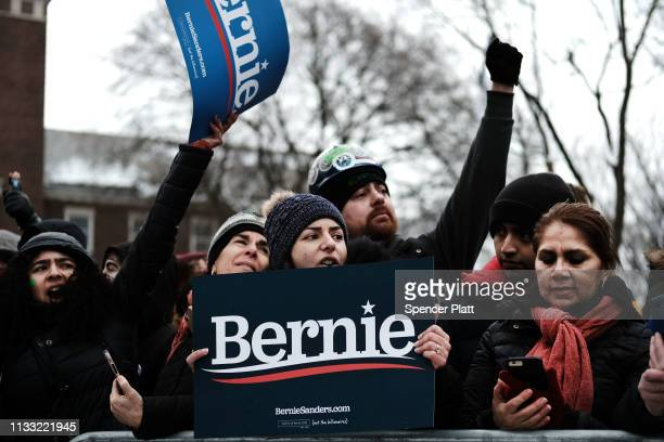 People wait to hear U.S. Sen. Bernie Sanders at a rally at Brooklyn College on March 02, 2019 in the Brooklyn borough of New York City. Sanders, a...