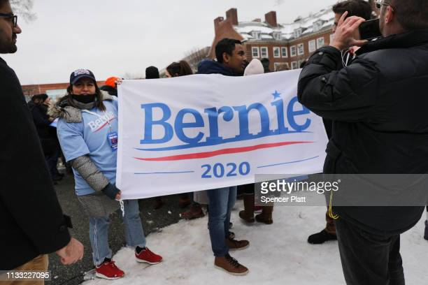 People wait to hear US Sen Bernie Sanders speak to supporters at Brooklyn College on March 02 2019 in the Brooklyn borough of New York City Sanders a...