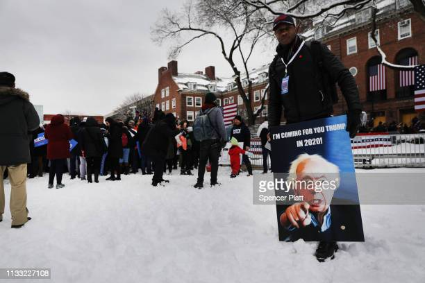 People wait to hear U.S. Sen. Bernie Sanders speak to supporters at Brooklyn College on March 02, 2019 in the Brooklyn borough of New York City....