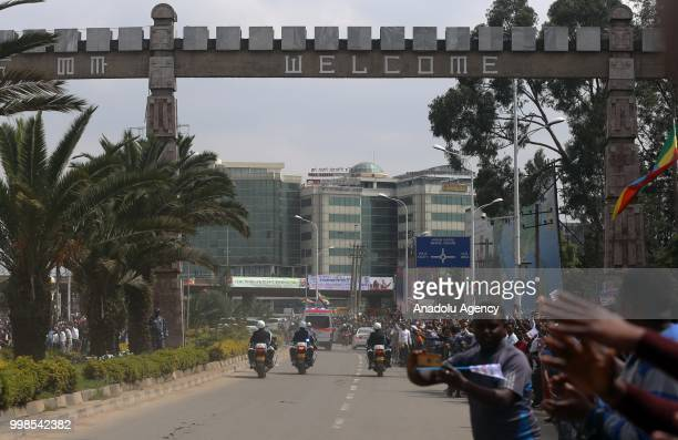 People wait to meet Eritrean President Isaias Afewerki who to hold an official visit to Ethiopia after 20 years in Addis Ababa Ethiopia on July 14...