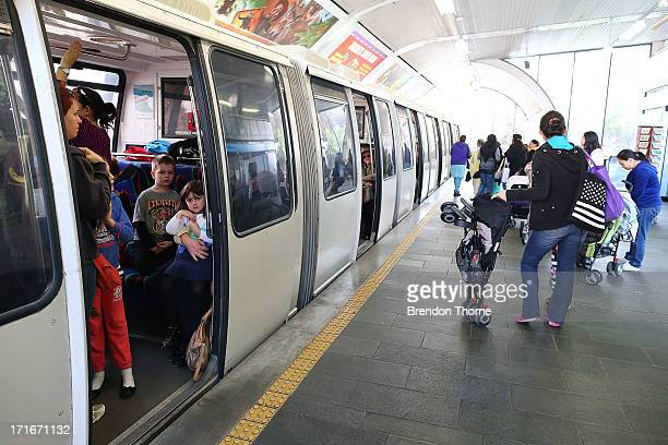 People wait to ride the Sydney monorail at Paddy's Market station on June 26 2013 in Sydney Australia The Sydney monorail will complete it's last lap...