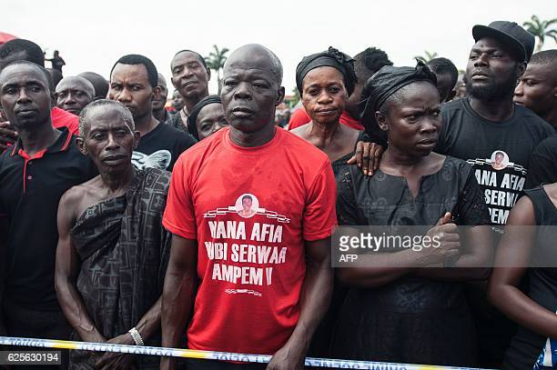 People wait to see the current Ghana's president during the official ceremony following the death of Nana Afia Kobi Serwaa Ampem II the 13th queen...