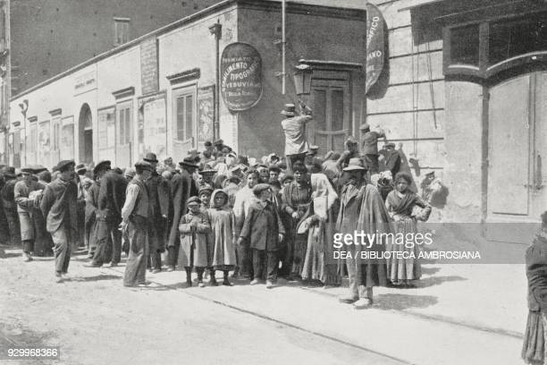 People waiting for food distribution Portici Vesuvius eruption Italy photograph by Du Bois from L'Illustrazione Italiana Year XXXIII No 17 April 22...