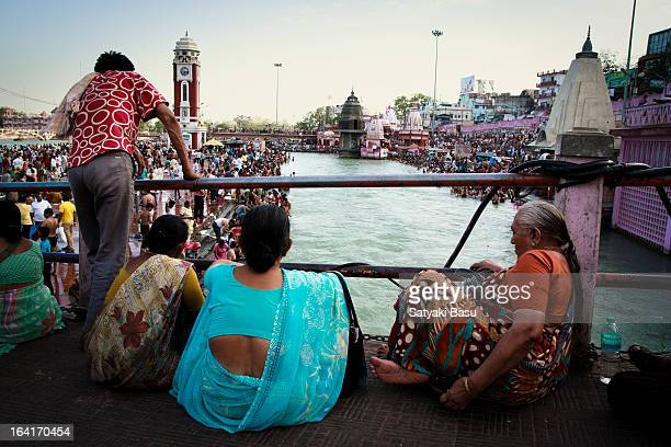 CONTENT] People waiting for the famous Ganga aarti to start in Hardwar India