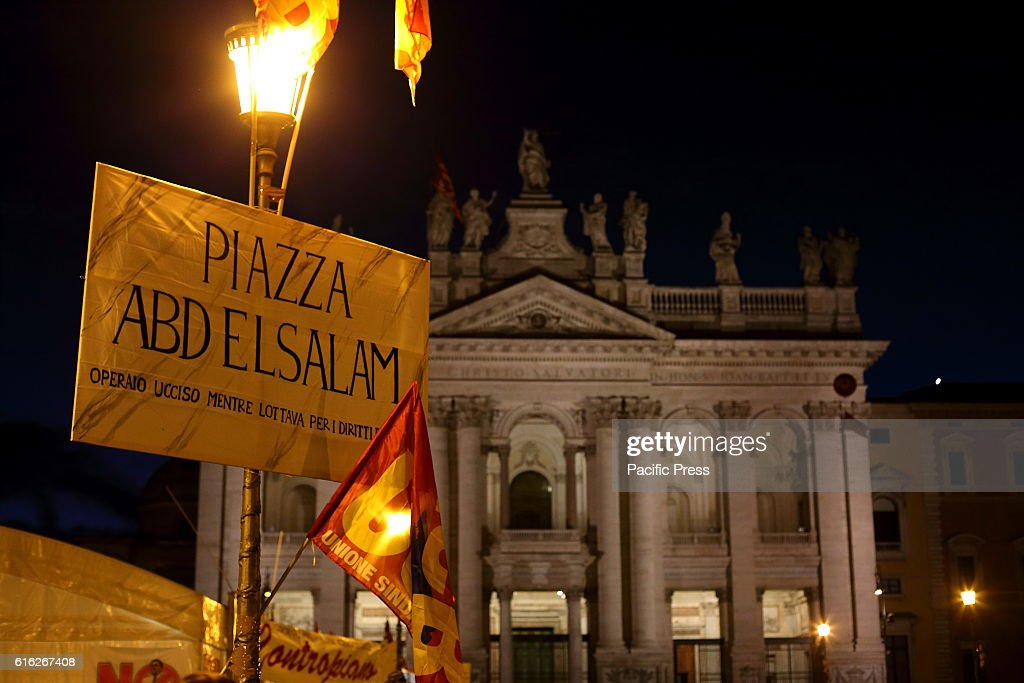 People waiting for the 'No Renzi Day' national demonstration in Rome to say NO to the Constitutional Reform.