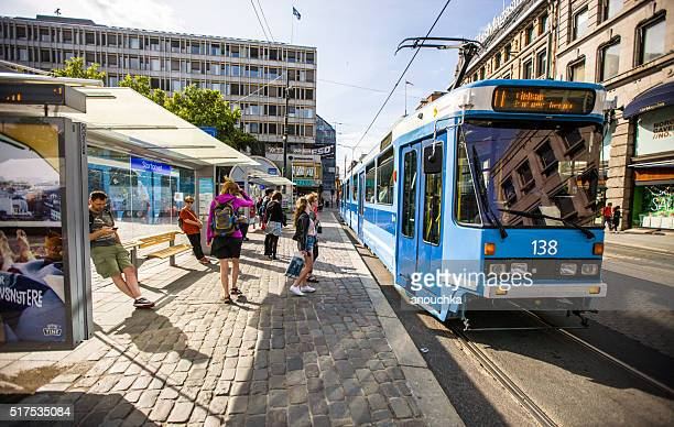 people waiting for tramway in oslo, norway - cable car stock pictures, royalty-free photos & images