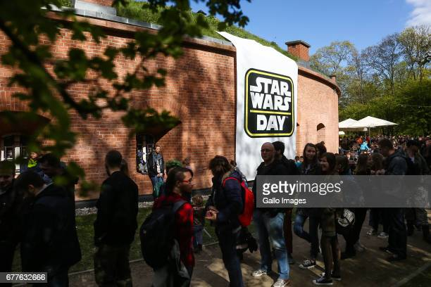 People waiting in line during the STAR WARS Day on May 01 2017 at Nowy Fort in Warsaw Poland The event for famous science fiction movie series...