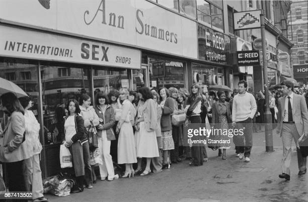People waiting in line for the opening of an Ann Summers Sex Shop in London UK 11th August 1978