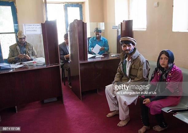 People waiting in the tourism office badakhshan province ishkashim Afghanistan on August 9 2016 in Ishkashim Afghanistan