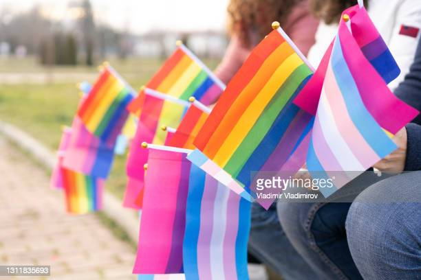 people waiting on an lgbtq pride parade - pride flag stock pictures, royalty-free photos & images