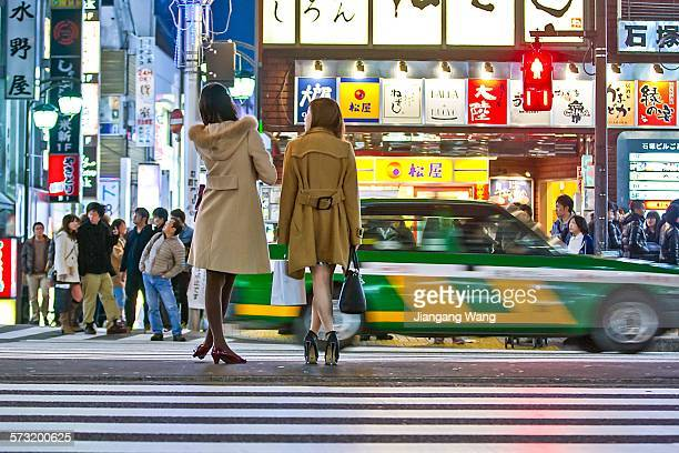 People waiting the traffic lights at Shinjuku Kabukicho in the night