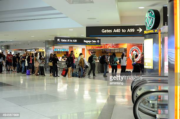 People Waiting to Buy Food at Denver International Airport