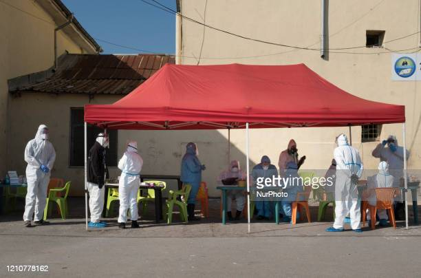 People waiting to get their results from free antibody and COVID19 testing in the primarily Roma neighborhood of Fakulteta in Sofia Bulgaria on April...